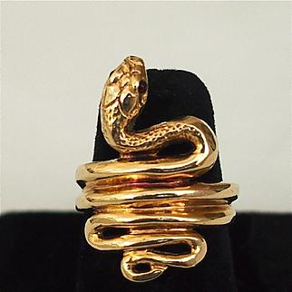 Elaborate Gold Snake Ring