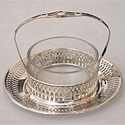Small Sterling and Glass Condiment Dish