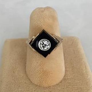 Art Deco Diamond, Onyx and Rose Gold Ring