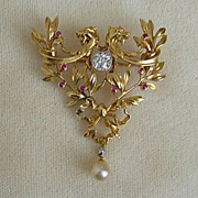Gold Art Nouveau Diamond, Ruby and Pearl Double Gryphon Brooch/Pendant