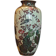 *Final Clearance - Floral and Bird Vintage Enameled Vase