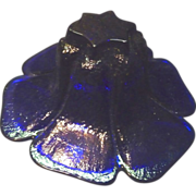 *Final Clearance ~ Heavy Cobalt Blue Blenko Hand Made Glass Flower Bowl
