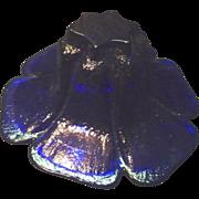 *Final Clearance ~ Heavy Cobalt Blue Blenko Hand Made Glass Flower Bowl