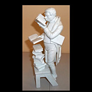 Kaiser Man with Many Books Figurine Librarian/Scholar  Signed Bochmann
