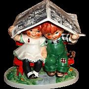 Goebel Figurine Let It Rain Trademark 4  Signed Charlot