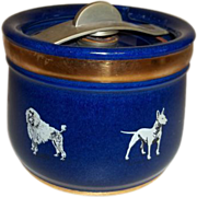 Royal Doulton  Blue Stoneware Humidor with Dog Pattern