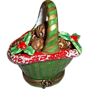 Limoges Chamart Trinket Box Winter Holiday Pinecone and Holly Basket