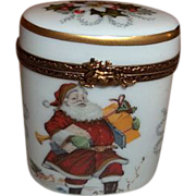 Limoges France Rehausse Christmas Santa Trinket Box