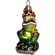 Radko Ornament Just One Kiss Frog on Throne