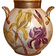Limoges Pouyat Handled  Hand Painted and Signed Iris Pillow Vase