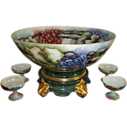 Signed Limoges Plainemaison Punch Bowl and 4 Cups with Grape Vine Design.