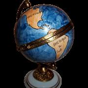 Limoges Porcelain Globe  Trinket Box