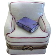 Limoges Signed Trinket Box Comfy Sofa Chair with Book
