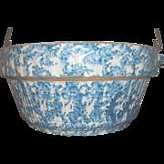 Blue and White Spongeware Salt Glaze Stoneware Milk Crock With Bail Clothespin Pattern