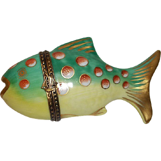 Limoges Parry Vieilee Fish Trinket Box