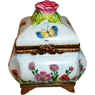 Limoges Rochard Trinket Box with Perfume Bottle