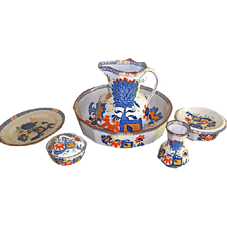 Masons Ironstone Wash Basin and Dresser Set in Jardiniere Pattern  7 Pieces