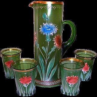 Northwood Green Glass Water / Lemonade Tankard Set Hand Painted Flowers