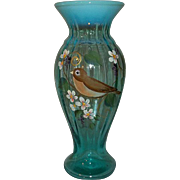 Fenton Art Glass Vase Opalescent and Robin Blue Color  Signed Jackso
