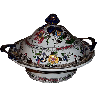 Ironstone Staffordshire Chinese Flora Covered Serving Dish