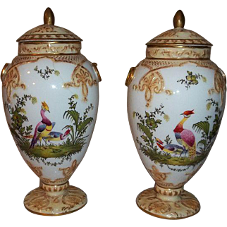 Steve Clive Tunstall Stratford England Fine Porcelain Potpourri Jars with Lids  Circa 1875-1880