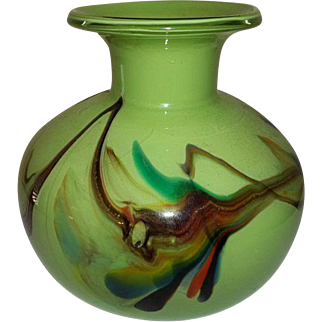 Empoli Glass Mid Century Art Glass Vase Italy