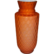"""Victorian Diamond Quilt Mother of Pearl Cased Vase 8 1/2"""" Tall Coral or Apricot Color."""
