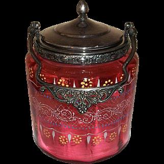 Victorian Glass Cranberry Enamel Biscuit Jar