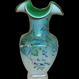 Fenton Art Glass Spruce Iridescent Vase Signed Kincaid and Bill Fenton