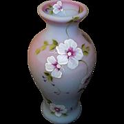 Fenton Art Glass Blue Burmese Vase Signed
