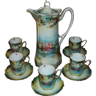 R S Prussia Reflecting Water Lilies Porcelain Chocolate Set
