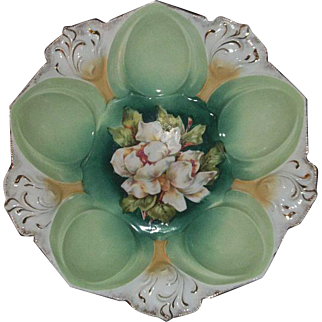 R S Prussia Bowl Mold 78 with White Flowers  10 1/2""