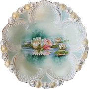 """R S Prussia Reflecting Lilies Bowl  10 3/4"""""""