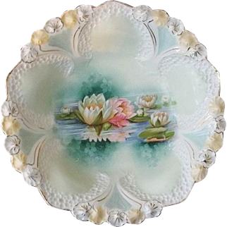 R S Prussia Reflecting Lilies Bowl  10 3/4""