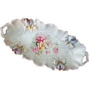"""R S Prussia Iris Mold Celery Dish  Roses and Daisy Pattern 12 1/4"""" Long"""
