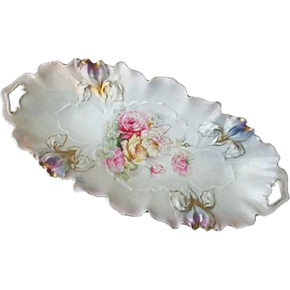 "R S Prussia Iris Mold Celery Dish  Roses and Daisy Pattern 12 1/4"" Long"