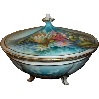 R S Prussia Reflecting Lilies Footed Bowl with Lid