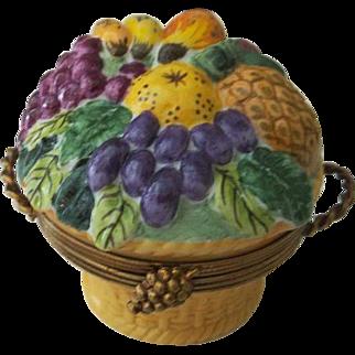 Limoges Chamart Fruit Basket Trinket Box