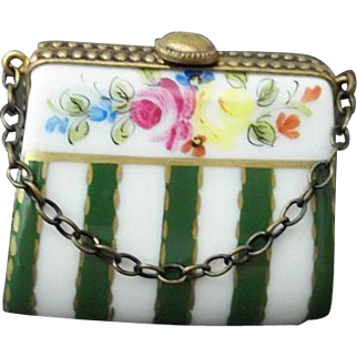 Limoges Trinket Box Purse with Green and White Stripes Signed DJ