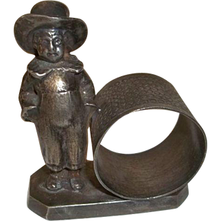 Figural  Napkin Ring  Boy with Hat and Hands In Pocket