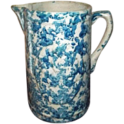 """Spongeware Stoneware Blue and White Pitcher   Girl with Dog  8 3/4"""" Tall"""