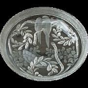 Libbey American Brilliant Cut Glass Wisteria Bowl with Lovebirds