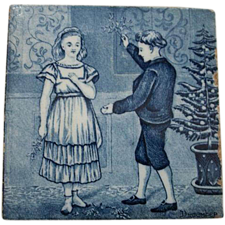 Wedgwood Calendar Tile Blue and White December