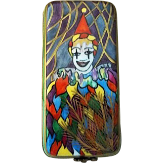 Limoges France Porcelain Trinket Box  Joker or Clown  Signed P H D
