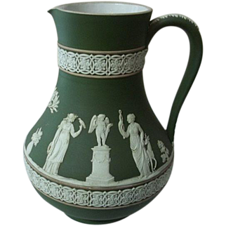 """Antique Wedgwood Jasperware Green Tricolor Pitcher 7"""" Tall"""