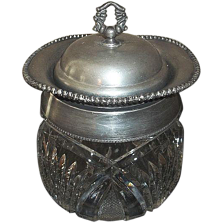 """Cut Crystal and Silver Plate Biscuit Jar 8 1/2"""" Tall"""
