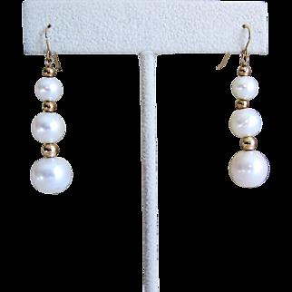 14K Gold Cultured Pearl Dangle/Drop Earrings.