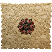 Antique Alencon Lace Doily With Center Petite Point Embroidered Roses.