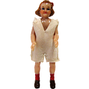 Hard Plastic Retro Jointed Dollhouse Girl Doll - 3-3/4''