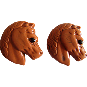 Pair of Molded Composition Figural Horse Head Button Studs-1868 - Red Tag Sale Item
